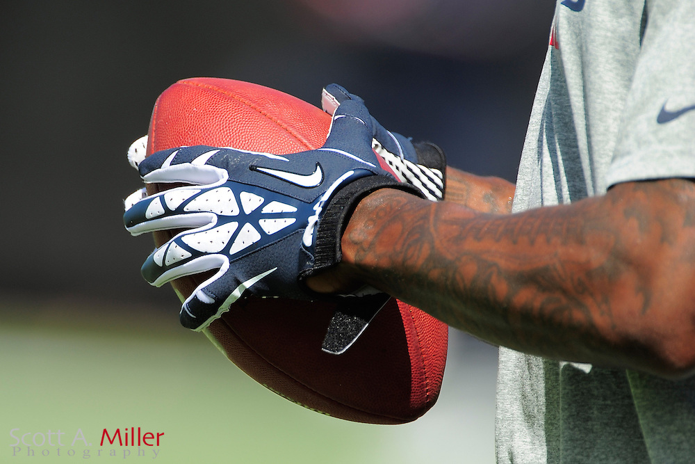 Houston Texans wide receiver Andre Johnson (80) wears Nike gloves while holding a Wilson NFL football prior to the NFL game between the Texans and the Jacksonville Jaguars, at EverBank Field on September 16, 2012 in Jacksonville, Florida. ©2012 Scott A. Miller.