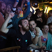 At one point the YES campaign was in the lead and people cheered when the figures came in from Dundee. <br /> The Forest Cafe was rammed with YES campaigners and voter watching the results come in through the night. <br /> <br /> Scottish referendum in Edinburgh. All through out the day a huge number of voters turned out all over Scotland to vote in the independence referendum. The polls were open from 7am till 10pm and the count went on through-out the night with the final results announced early in the following morning.