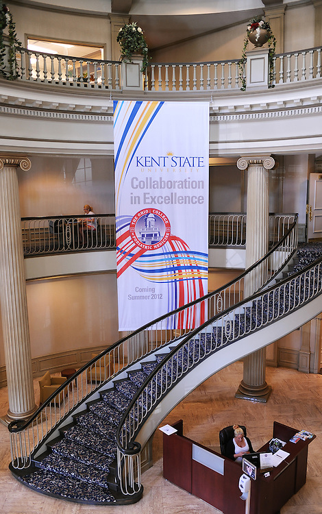 A banner celebrating the collaboration of the Ohio College of Podiatric Medicine and Kent State University hangs in the lobby of the newly designated Kent State College of Podiatric Medicine.