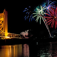 Fireworks above the Tower Bridge, Sacramento, California.