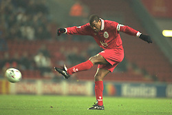 Liverpool, England - Wednesday, November 27th, 1996: Liverpool's John Barnes in action during the 4-2 victory over Arsenal during the 4th Round of the League Cup at Anfield. (Pic by David Rawcliffe/Propaganda)