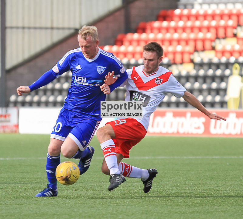 Airdrieonians V Peterhead  Scottish League One 29 August 2015; Airdrie's Scott Smith tackles Peterhead's Andy Rodgers during the Airdrieonians V Peterhead Ladbrokes Scottish League One match played at Excelsior Stadium, Airdrie.