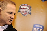 LSU head coach Les Miles answers questions during Media Day at the Superdome in New Orleans, Jan. 5, 2007.