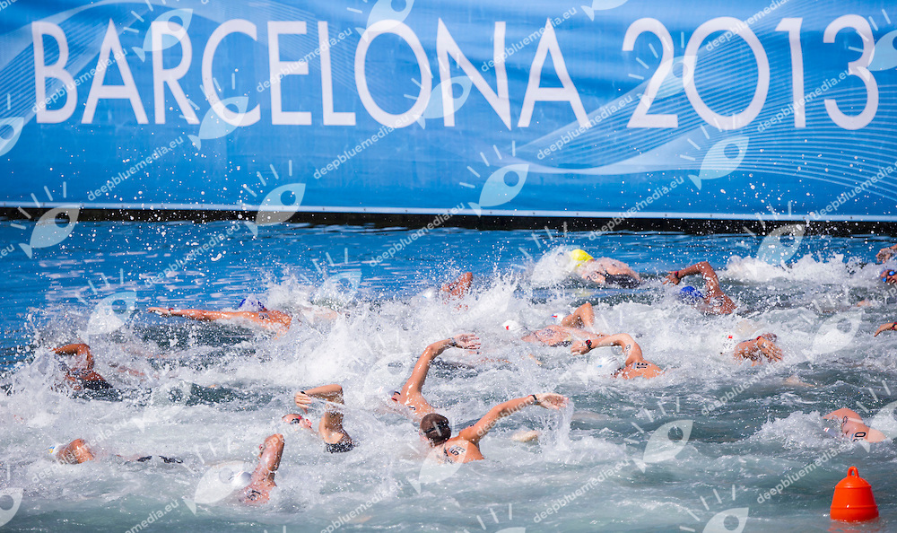 Swimmers<br /> Open water Men's 10km <br /> 15th FINA World Aquatics Championships<br /> Barcelona 19 July - 4 August 2013<br /> Barcelona (Spain) 22/07/2013 <br /> &copy; Giorgio Perottino / Deepbluemedia.eu / Insidefoto