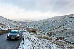 © Licensed to London News Pictures. 29/11/2017. Hawes UK. Drivers faced tricky driving conditions this morning on Butter Tubs Pass in the Yorkshire Dales as over night ice set on roads.  Photo credit: Andrew McCaren/LNP