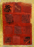 Abstract mix media collage of a red squares with a hen head.