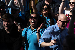 © Licensed to London News Pictures . 12/05/2019. Manchestr , UK . Manchester City go 1-2 up . Manchester City supporters watch the club's Premier League match at Brighton on a big screen in City Square at the Etihad Stadium. If Manchester City win the match they will win the title for the second time in a row . Photo credit : Joel Goodman/LNP/LNP