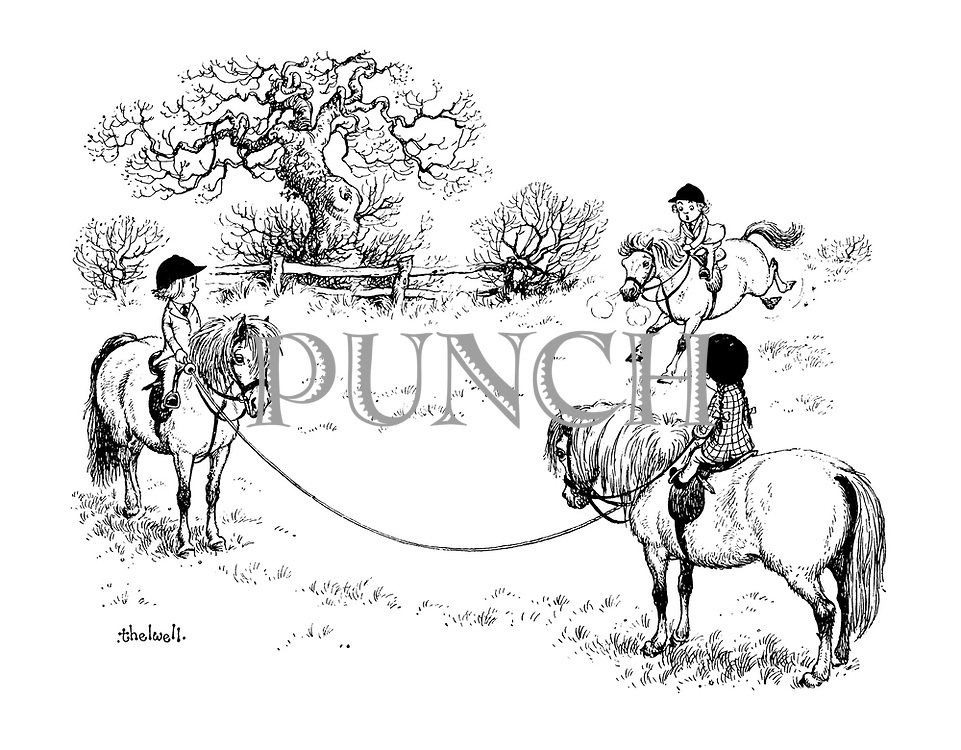 (children riding ponies)