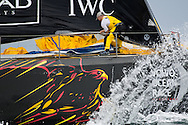 Abu Dhabi Ocean Racing's bowman during a mark rounding in the in-port race at the 2011-2012 Volvo Ocean Race Miami.