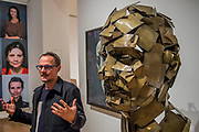 Jonathan Yeo with his sculpture Homage to Paolozzi - a collaboration with Google Arts & Culture to create the first physical free-standing sculpture in metal made using the Virtual Reality program Tilt Brush - From Life a new exhibition at the Royal Academy of Arts. It runs from 11 December 2017 – 11 March 2018.