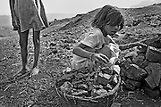 Children from the Jharia district collecting coking coal to be sold in the streets of Dhanbad, india.<br />