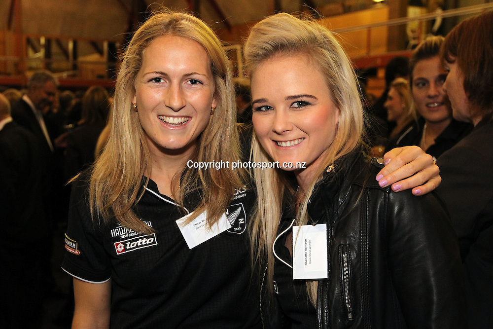 Charlotte Harrison, right with Stacey Michelsen at Black Sticks men and women Hockey teams farewell before Olympics 2012 in London at Diocesan School for Girls, Epsom Auckland, New Zealand on Friday 29 June 20112. Photo: Fiona Goodall /photosport.co.nz.