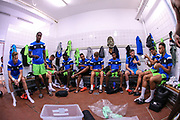The FGR players prepare for the game in the dressing room during the Pre-Season Friendly match between SC Farense and Forest Green Rovers at Estadio Municipal de Albufeira, Albufeira, Portugal on 25 July 2017. Photo by Shane Healey.