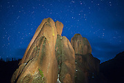 A granite rock spire at night in McMurdy Park, Lost Creek Wilderness, Colorado.