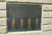 Information about the Four virtues statues outside law court building, city Bergen, Norway - information panel