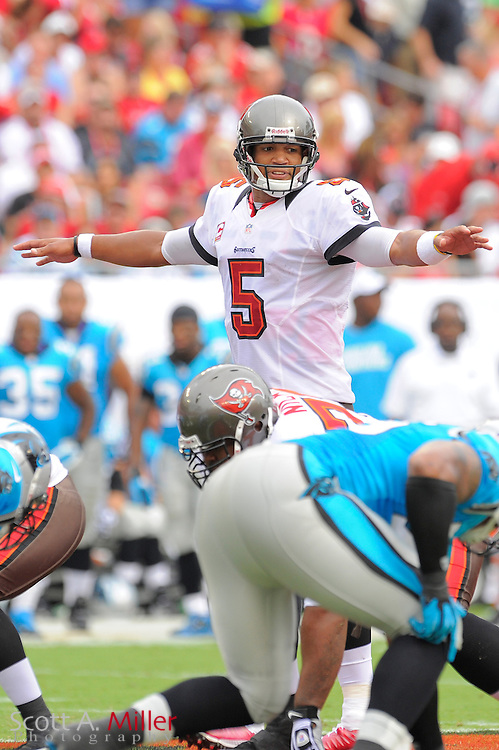 Tampa Bay Buccaneers quarterback Josh Freeman (5) changes a play during the Bucs game against the Carolina Panthers at Raymond James Stadium  on September 9, 2012 in Tampa, Florida.  The Bucs won 16-10..©2012 Scott A. Miller...