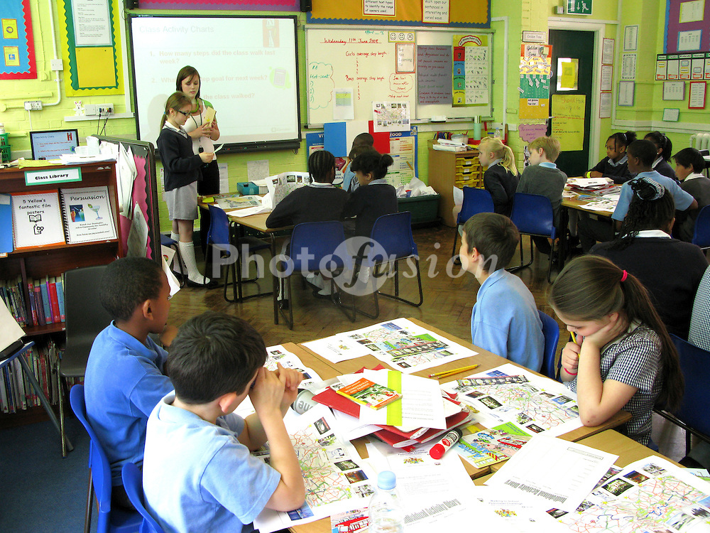 Classroom; St Aloyisius RC Junior School; Camden; London; UK, Children doing an environmental project