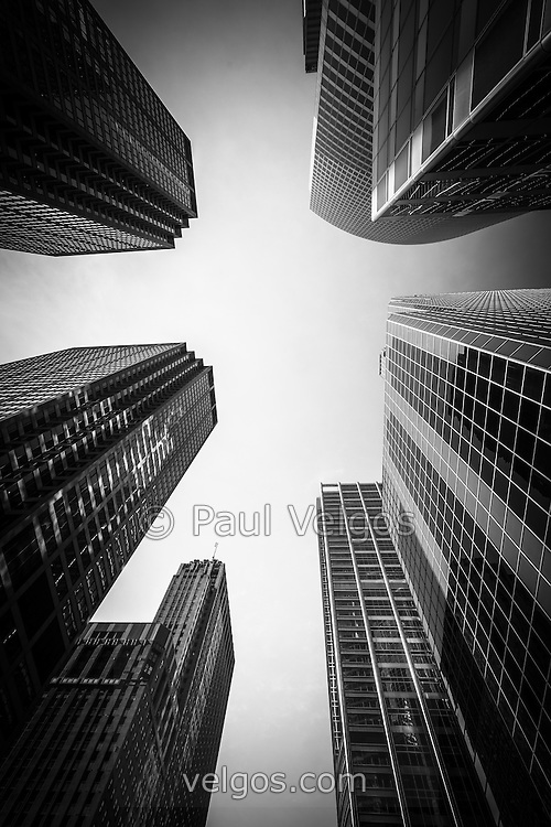 Black and white Chicago skyscrapers and office buildings looking upward toward the sky.