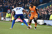HUll City Forward, Adama Diomand looks to get past Bury Defender, Nathan Cameron during the The FA Cup fourth round match between Bury and Hull City at Gigg Lane, Bury, England on 30 January 2016. Photo by Mark Pollitt.
