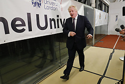 © Licensed to London News Pictures. 09/06/2017. London, UK. Foreign Secretary BORIS JOHNSON speaks at Uxbridge and South Ruislip election count centre in Brunel University, west London on Friday 9 June 2017. Photo credit: Tolga Akmen/LNP