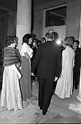 An Taoiseach Mr. Jack Lynch T.D. entertains  Mrs. Jackie Kennedy at a reception at St. Patrick's Hall, Dublin Castle.  Jack Lynch and his wife escort Mrs. Kennedy into the Great Hall amidst a barage of cameramen and T.V. cameras. on the left is Mrs. Frank Aiken, wife of the Minister for External Affairs.<br /> 30.06.1967