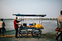 Fort Kochi, India -- February 11, 2018: A snack cart at Mahatma Gandhi Beach.