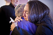 tucsonshooting - 09 JANUARY 2011 - TUCSON, AZ: Naomi Present (CQ), a friend of Congresswoman Gabrielle Giffords, hugs well wishers at Congregation Chaverim in Tucson Sunday. Hundreds of people attended the healing service to pray for Congresswoman Gabrielle Giffords and other victims of the mass shooting that took place Saturday.   ARIZONA REPUBLIC PHOTO BY JACK KURTZ