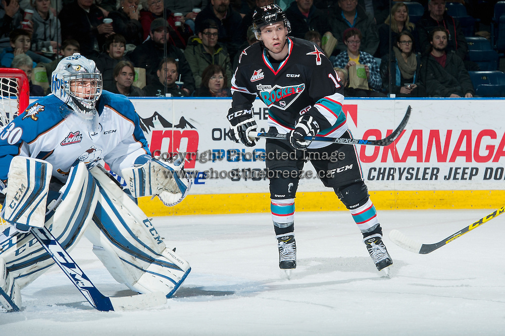KELOWNA, CANADA - DECEMBER 2: Rourke Chartier #14 of Kelowna Rockets looks for the pass during first period against the Kootenay Ice on December 2, 2015 at Prospera Place in Kelowna, British Columbia, Canada.  (Photo by Marissa Baecker/Shoot the Breeze)  *** Local Caption *** Rourke Chartier;