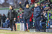 Forest Green Rovers manager, Mark Cooper and Coventry City manager Mark Robins  during the EFL Sky Bet League 2 match between Forest Green Rovers and Coventry City at the New Lawn, Forest Green, United Kingdom on 3 February 2018. Picture by Shane Healey.