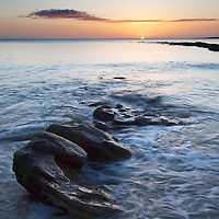 Rocks on the Shore at Sunrise Castle Sands St Andrews Fife Scotland