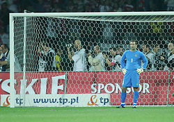 WARSAW, POLAND - WEDNESDAY, SEPTEMBER 7th, 2005: Wales' goalkeeper Danny Coyne looks dejected after conceding the only goal from the penalty spot against Poland during the World Cup Group Six Qualifying match at the Legia Stadium. (Pic by David Rawcliffe/Propaganda)