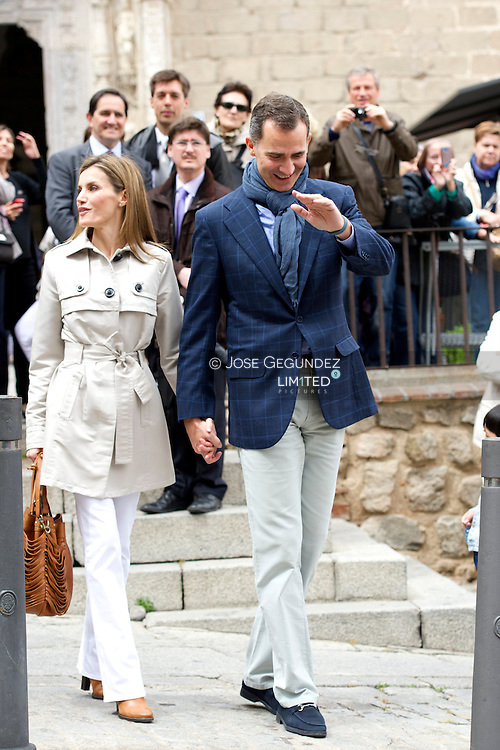 Prince Felipe of Spain and Princess Letizia of Spain visit the El Greco Exhibition at Santa Cruz Museum in Toledo, Spain. The Prince and Princess celebrates their tenth anniversary of their weeding.
