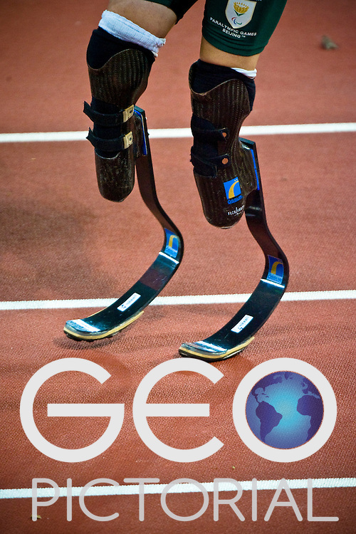 "Oscar Pistorius close up of his prosthetic legs - carbon fibre ""blades"" - Day 2 of the 2008 Beijing 2008 Paralympic Games at the National ""Bird's Nest"" Stadium in Beijing, China on the 8th September 2008;"