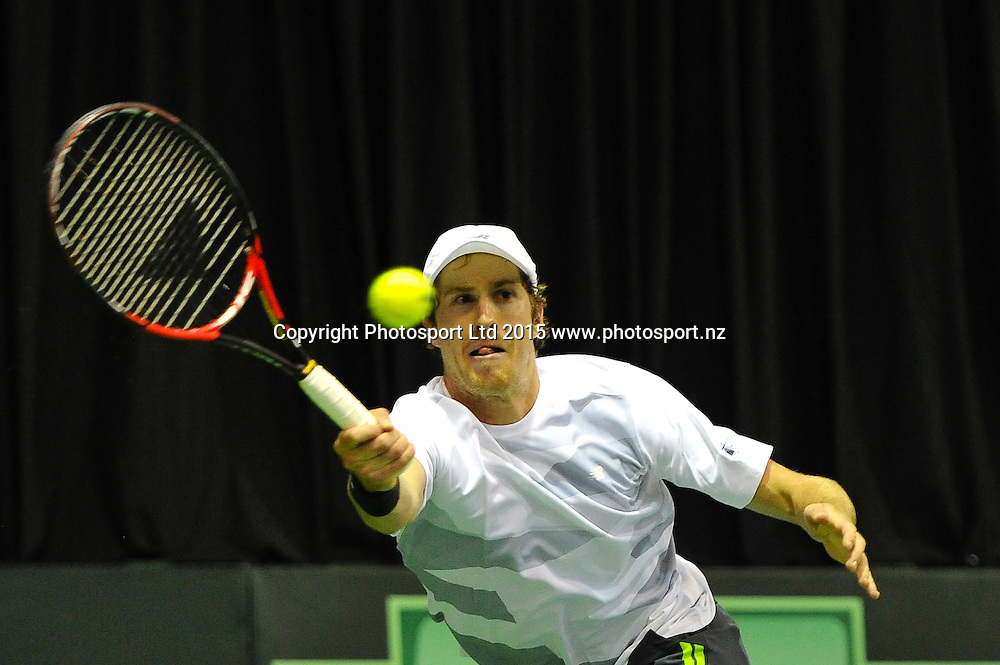 Marcus Daniell of New Zealand at the Davis Cup Doubles Tennis match, New Zealand v India, at The Z Energy Wilding Park Tennis Centre, Christchurch, New Zealand on the 18 July 2015. Copyright Photo: John Davidson / www.photosport.nz