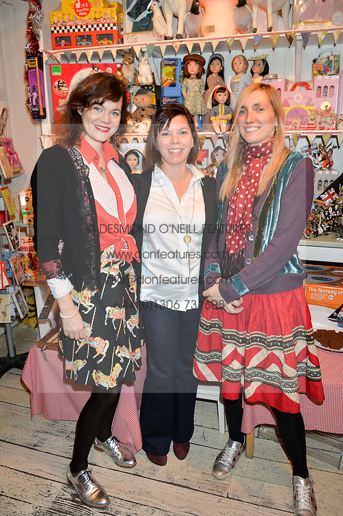 Left to right, JASMINE GUINNESS, FRANCES CAIN founder of the doll 'A Girl For All Time' and HONEY BOWDREY at a promotional party for the A Girl For All Time doll held at HoneyJam, 2 Blenheim Crescent, London on 5th December 2015.