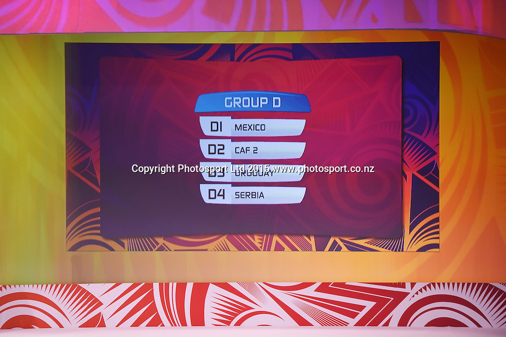 Group D. Official Draw for the FIFA U 20 Football World Cup, New Zealand 2015. Sky City, Auckland. Tuesday 10 February 2015. Copyright photo: Andrew Cornaga / www.photosport.co.nz