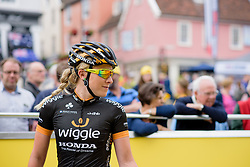 Annette Edmondson (Wiggle Honda) gets to the start early for the opening stage of the Aviva Women's Tour 2015 in Bury St Edmunds.