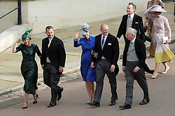Mike and Zara Tindall arrive for the wedding of Princess Eugenie to Jack Brooksbank at St George's Chapel in Windsor Castle.