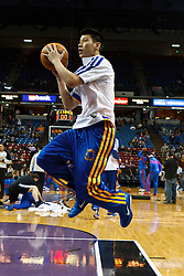 March 14, 2011; Sacramento, CA, USA;  Golden State Warriors point guard Jeremy Lin (7) warms up before the game against the Sacramento Kings at the Power Balance Pavilion.