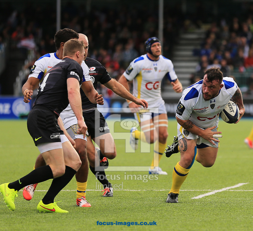 Thomas Domingo of Clermont Auvergne on the charge during the European Rugby Champions Cup match at Allianz Park, London<br /> Picture by Michael Whitefoot/Focus Images Ltd 07969 898192<br /> 18/10/2014