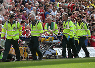 Matteo Darmian of Manchester United waves to the Man Utd fans as he is stretchered off during the Barclays Premier League match at Carrow Road, Norwich<br /> Picture by Paul Chesterton/Focus Images Ltd +44 7904 640267<br /> 07/05/2016
