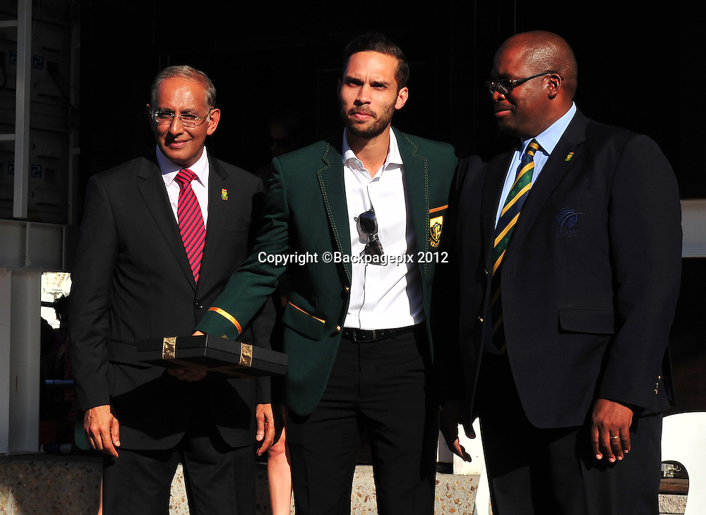 Haroon Lorgat (Cricket South Africa CEO), Farhaan Behardien and Chris Nenzani (President of Cricket South Africa) during the 2015 Cricket World Cup Protea squad announcement  at the V&A Waterfront, Cape Town on 7 January 2015 ©Ryan Wilkisky/BackpagePix