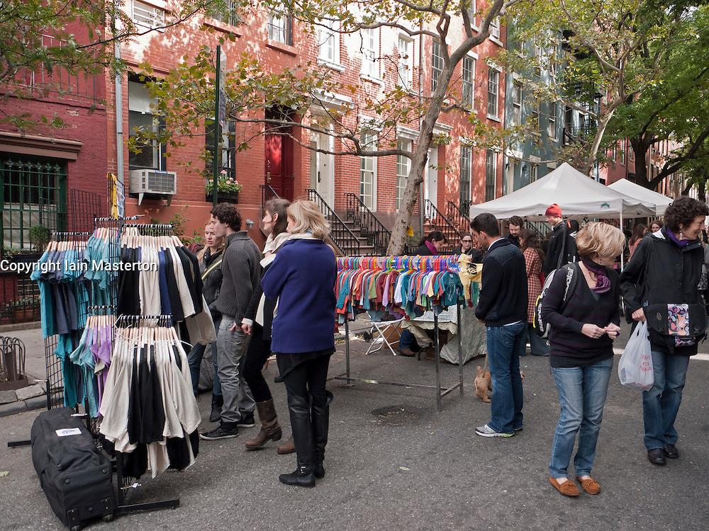 Weekend street flea market in trendy Chelsea district of Manhattan New York City USA