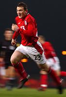 Photo. Javier Garcia<br />12/02/2003 England v Australia, Friendly International, Upton Park<br />Wayne Rooney powers his way up the field