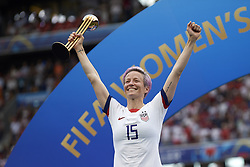 July 7, 2019 - Lyon, France - Megan Rapinoe (Reign FC) of United States lifts the golden ball trophy after winning the 2019 FIFA Women's World Cup France Final match between The United State of America and The Netherlands at Stade de Lyon on July 7, 2019 in Lyon, France. (Credit Image: © Jose Breton/NurPhoto via ZUMA Press)