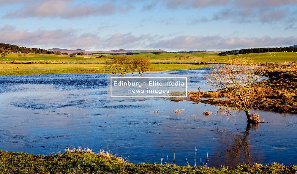 The Medwin Water - a tributary of the River Clyde - flooding fields after heavy rain near Libberton.<br /> <br /> (c) ANDREW WILSON | www.EdinburghElitemedia.co.uk