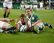 Photo © SPORTZPICS / SECONDS LEFT IMAGES 2010 - South Africas Juan Smith celebrates scoring his try as Eoin Reddan tries in despair - Ireland v South Africa - Guinness Series - Aviva Stadium - Dublin - 06/11/2010 -  Ireland - All Rights reserved