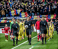 FOOTBALL: The players entering the field before the World Cup 2018 UEFA Qualifier Group E match between Denmark and Romania at Parken Stadium on October 8, 2017 in Copenhagen, Denmark. Photo by: Claus Birch / ClausBirch.dk.