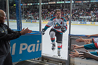 KELOWNA, CANADA - MAY 1: Tyson Baillie #24 of Kelowna Rockets exits the ice after earning a star of the game for scoring the overtime winning goal against the Portland Winterhawks during game 5 of the Western Conference Final on May 1, 2015 at Prospera Place in Kelowna, British Columbia, Canada.  (Photo by Marissa Baecker/Getty Images)  *** Local Caption *** Tyson Baillie;