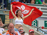 A Hong Kong fan cheering on Hong Kong during the Qualifying tournament during  in the Cathay Pacific/HSBC Hong Kong 7s at Hong Kong Stadium, Hong Kong, Hong Kong on 7 April 2017. Photo by Ian  Muir.*** during *** v *** in the Cathay Pacific/HSBC Hong Kong 7s at Hong Kong Stadium, Hong Kong, Hong Kong on 7 April 2017. Photo by Ian  Muir.